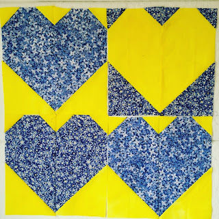 quilts for cure operation smiley for kiley heart blocks blue yellow