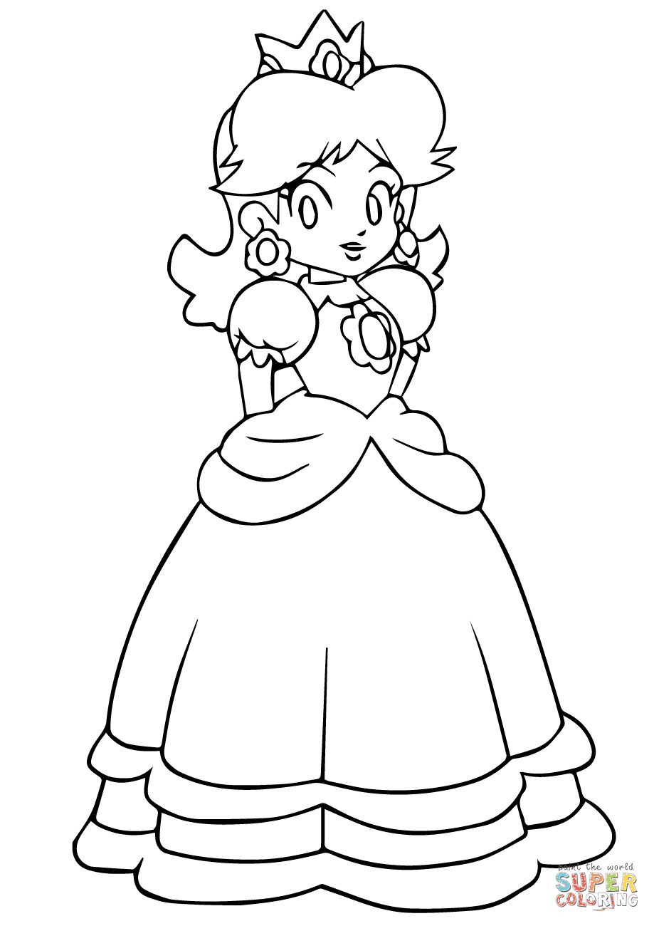daisy from mario coloring pages - gangster mario s free coloring pages