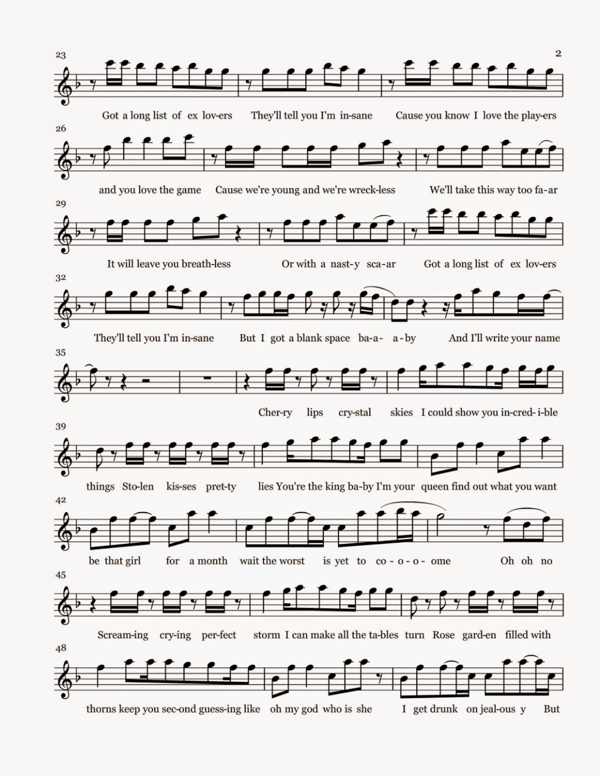 Blank space sheet music click for details taylor swift blank space
