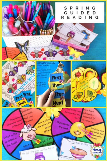 lick here to find a cute spring  guided reading unit that's sure to engage your students. It's easy to use for both student and teacher. Includes spr words retelling, fiction, informational, and compound words. Perfect for your second grade reader. {2nd, homeschool} #spring #guidedreading