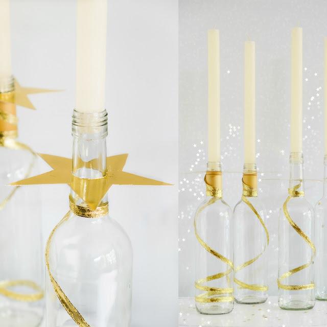 Van wijnfles tot kandelaar met een ster-Kerst Diy