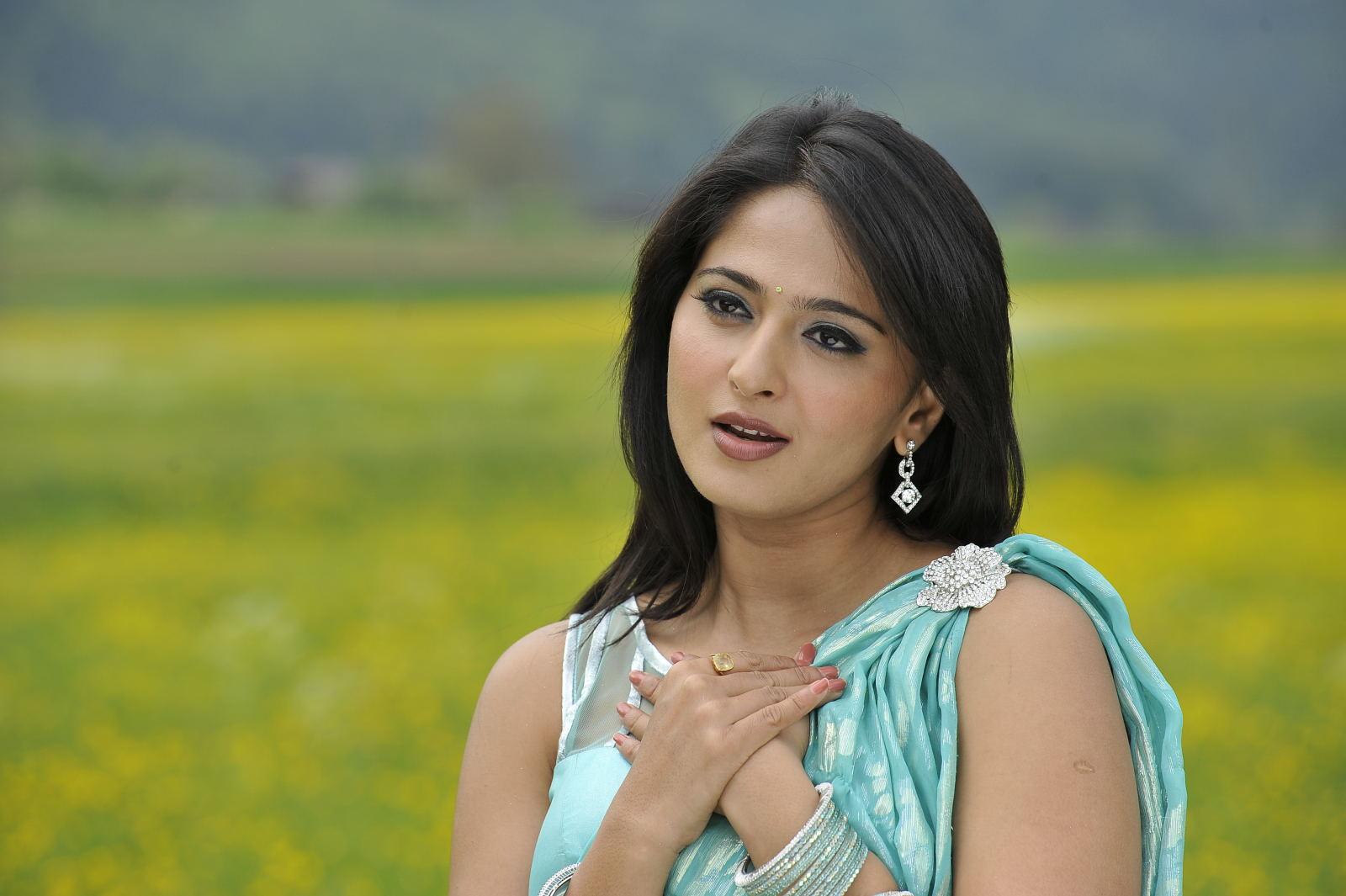 Anushka Shetty Hot Photos In Blue Saree 2016