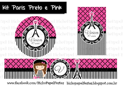 Kit Festa Paris Preto e Pink