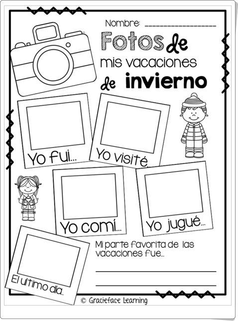 """""""Fotos de mis vacaciones de invierno"""" (Expresión escrita de Lengua Española)"""