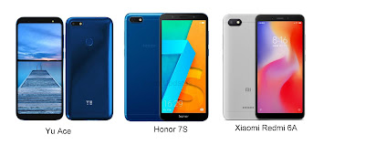 Yu Ace vs Honor 7S vs Xiaomi Redmi 6A