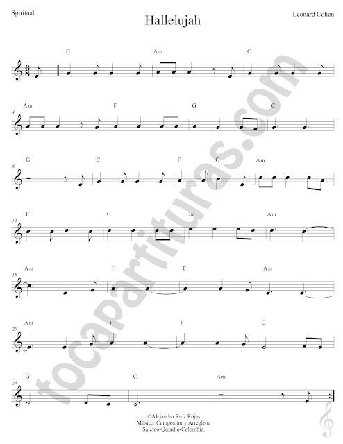 Partitura del Hallelujah de Leonard Cohen con Acordes en Clave de Sol (compás 6/8) Sheet Music for treble clef chords