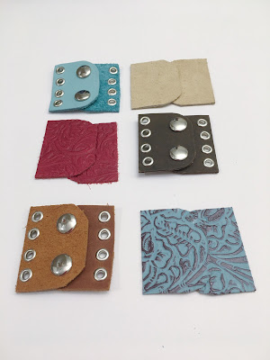 Handmade leather jewelry clasps with snaps and eyelets and grommets