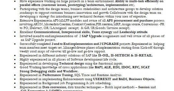 Sap Techno Function Consultant Sample Resume Format In