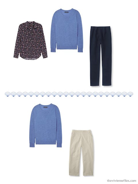 2 ways to wear a blue sweater from a 4 by 4 Travel Wardrobe