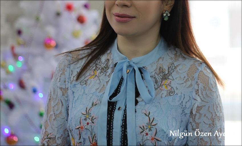 alışveriş-Mavi Dantel Elbise