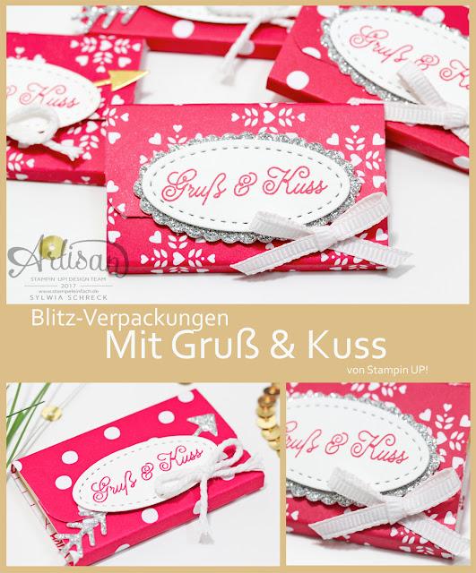 Stampin Up Blitz Verpackung mit Designerpapier - Liebe Grüße