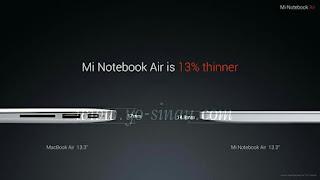 Ketebalan Mi Notebook Air vs Macbook Air