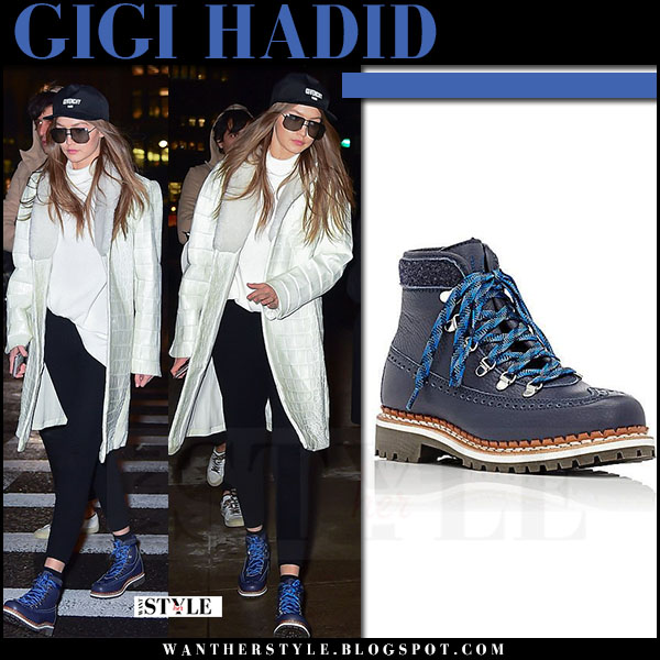 Gigi Hadid in blue lace up tabitha simmons bexley hiking boots and white coat what she wore streetstyle march 2017