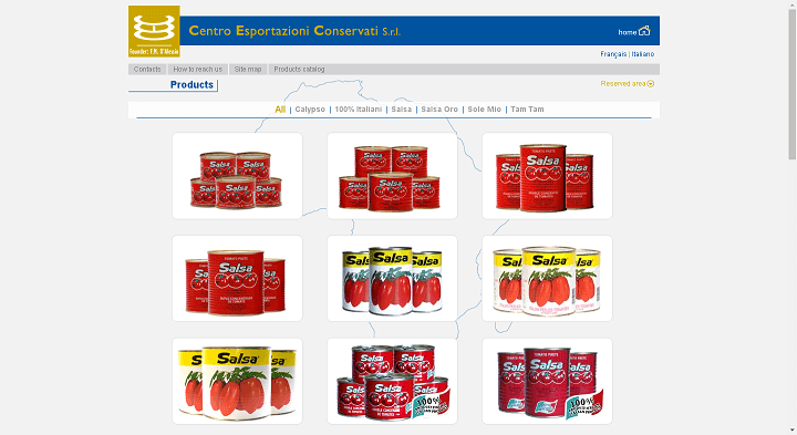 Picture to Italian food exporter company named Centro Esportazioni Censervati Srl