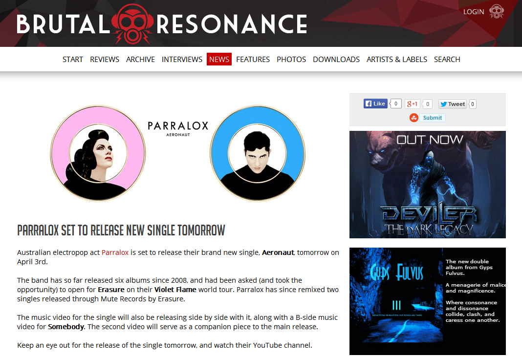 Brutal Resonance (Sweden) Parralox Set To Release New Single Tomorrow