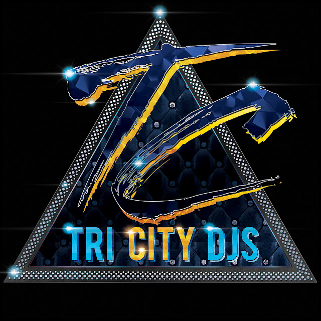 Tri City DJs Blue and Gold Logo Design on Triangular Technics 1200 Turntable Platter