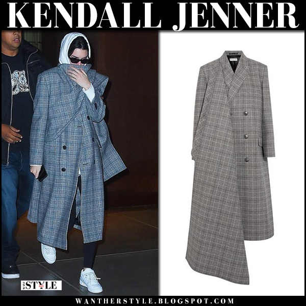 Kendall Jenner in grey checked coat balenciaga and white sneakers adidas street fashion february 7