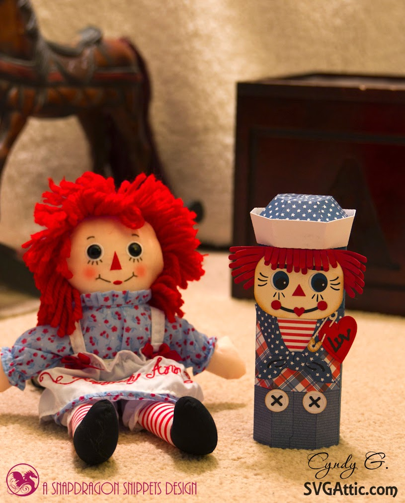 Raggedy Ann doll and Raggedy Andy 3d paper canister
