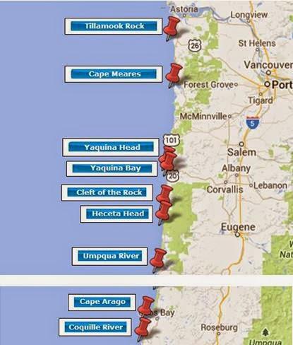 Lighthouses In Oregon Map.My Travelogue Oregon Coast Lighthouse Ride