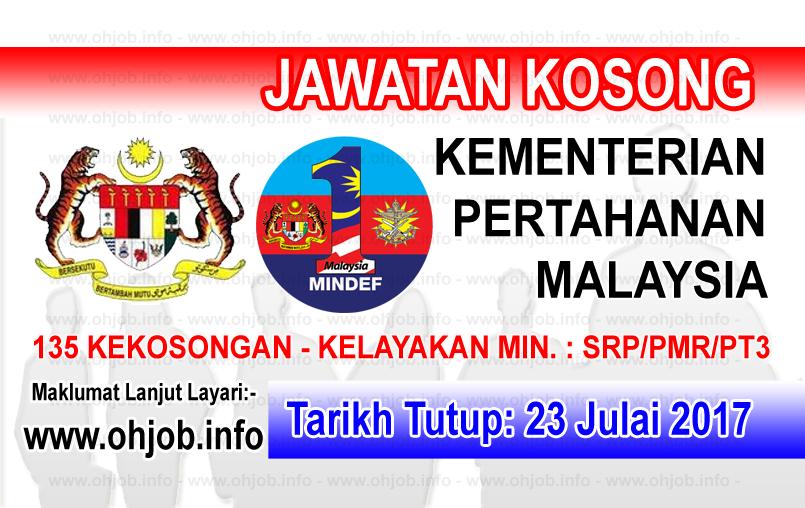 Jawatan Kerja Kosong Kementerian Pertahanan Malaysia - MINDEF logo www.ohjob.info julai 2017