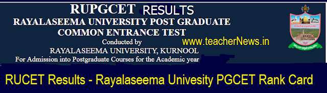 RUCET Results 2018 Rayalaseema Univesity PGCET Rank Card MA M.Sc Merit list, Selection list