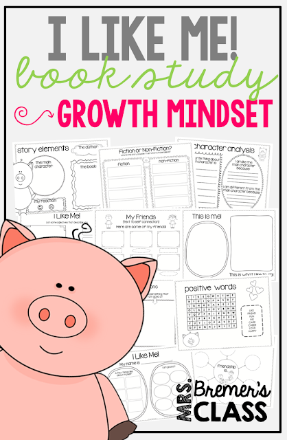 I Like Me! book study companion activities perfect for learning about feelings, self esteem, and having a growth mindset!