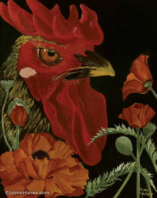 Poppycock, rooster painting, poppies, Jamie Haney