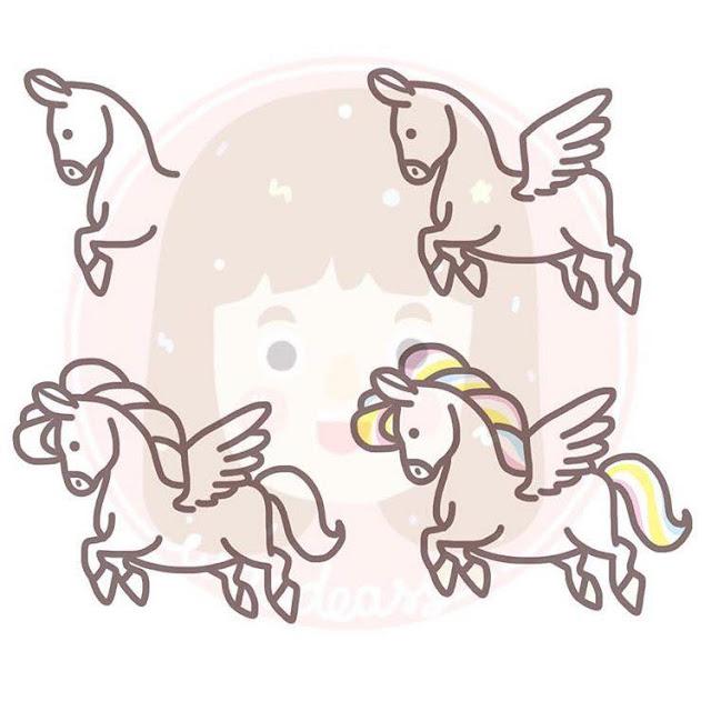 Cara menggambar kuda pegasus untuk anak-anak
