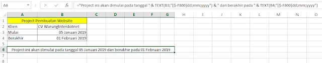 Hasil menggabungkan text dan tanggal