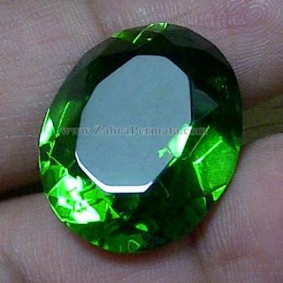 Batu Permata Green Tektite + Memo