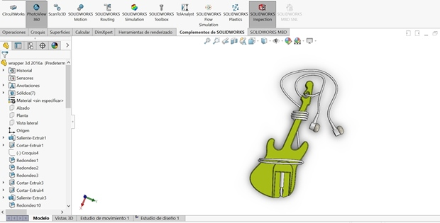 diseño de la guitarra wrapper con solidworks