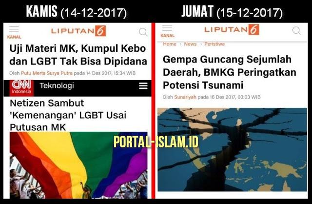 Baru Sehari MK ketok palu LGBT dan Kumpul Kebo tidak melanggar hukum, Indonesia Dilanda Gempa, Azab Allah?