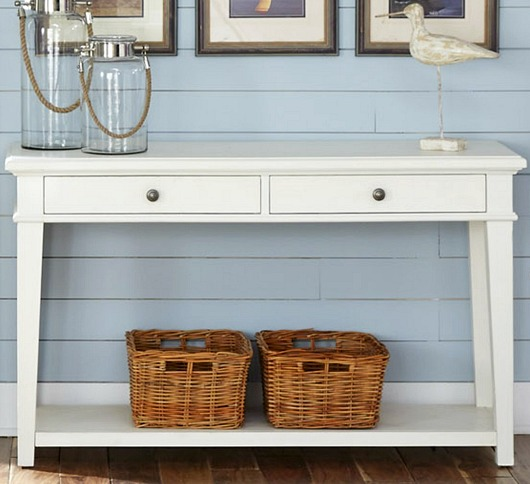 Simple White Console Table with Drawers