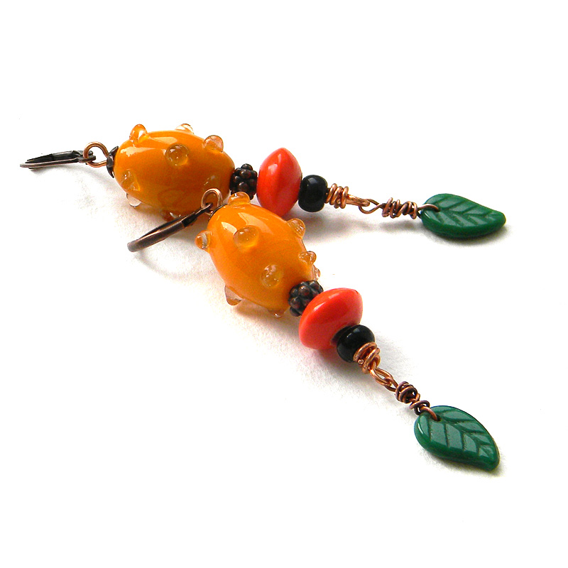 купить длинные серьги оранжевые сережки яркие украшения