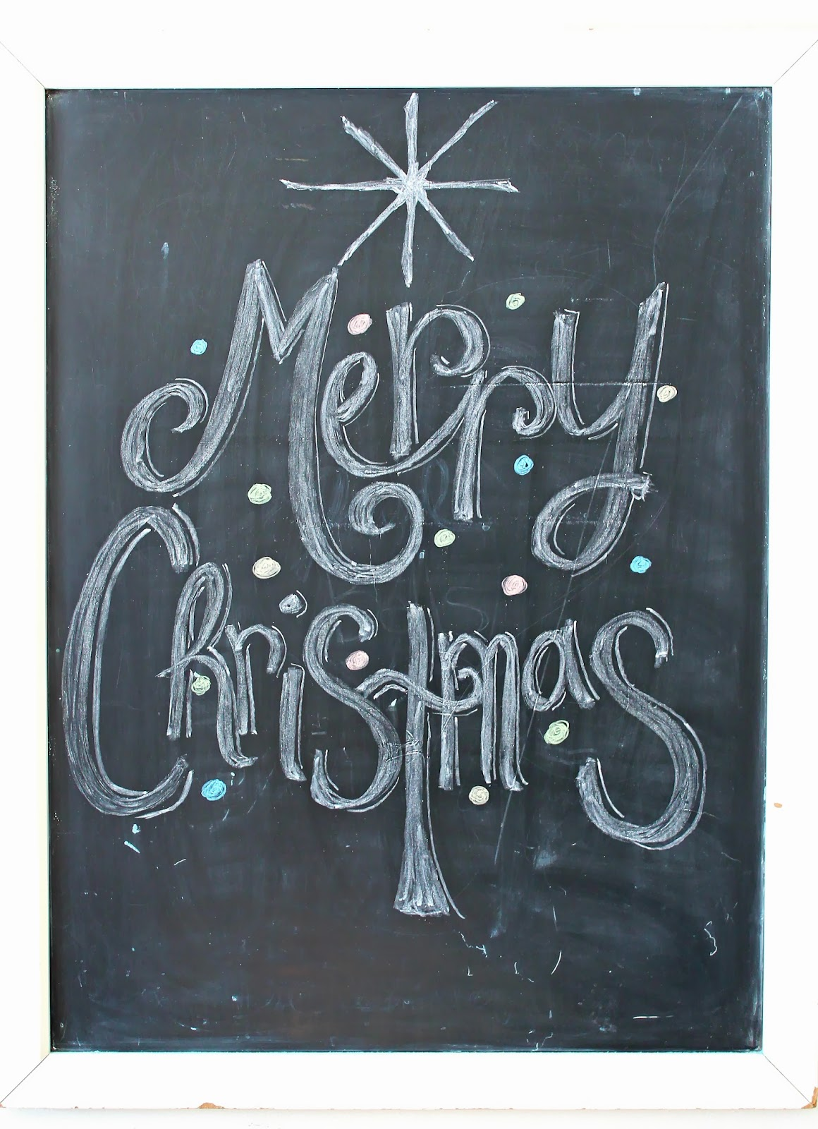 Freshly Completed Merry Christmas Chalkboard