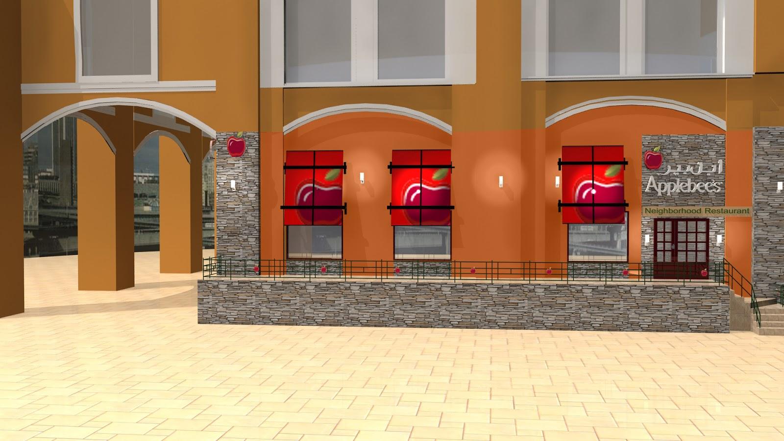 Exterior: Sajid Designs: Applebees 3d Exterior Design Qatar