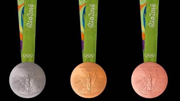 Penampakan penampilan depan Bentuk Medali Olimpiade 2016 Rio Brasil
