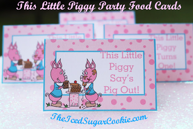 "This Little Piggy Birthday Party Food Label Tent Cards is a printable digital download. If you're throwing a ""This Little Piggy"" birthday party then these food cards would look great sitting on your table next to the food items. We made a blank food card template so you can write or type your own words. Just open your JPEG template up in Photoshop or Paint and type your own words.   You are getting 9 JPEG 8.5 x 11 sheets with four cards per page.  This is a digital download for you to PRINT and CUT. This will be available to you as soon as you pay.   These food cards were created on an 8.5 x 11 sheet and has 4 food cards per page. Each card measures approx 3- 3/4 inch wide and 2- 1/2 inch tall after they have been folded.   What you are getting in your ZIP FILE: Food Cards That Say:  1. This Little Piggy Loves Cake  2. This Little Piggy Say's Pig Out!  3. This Little Piggy Turns One!  4. This Little Piggy Loves Presents  5. Piggy Cakes  6. Piggy Food  7. Piggy Treats  8. Pig Slop  9. Piggy Drinks  10. Piggy Punch  11. Piggy Candy  12. Pig Out!  13. Piggy Cotton Candy  14. Piggy Pizza  15. Piggy Cookies  16. Piggy Pie  17. This Little Piggy Turns Two!  18. This Little Piggy Turns Three!  19. This Little Piggy Turns Four!  20. This Little Piggy Turns Five!"