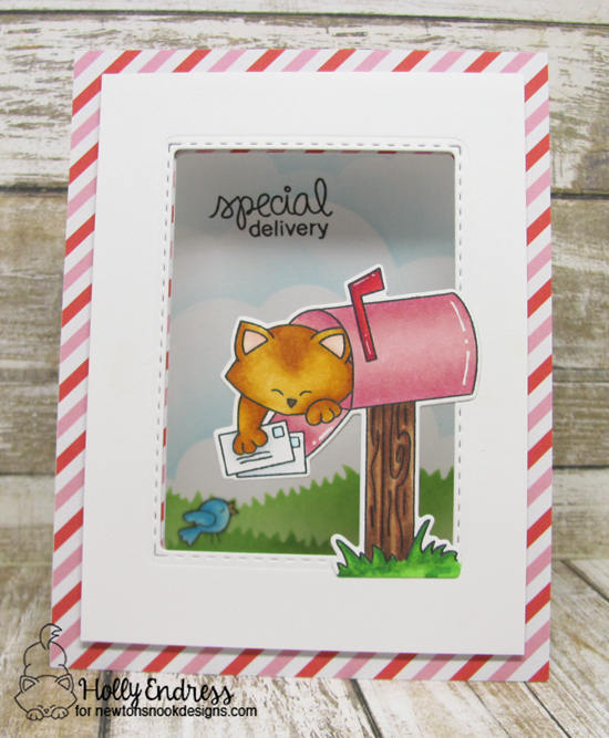 Cat in Mailbox Card by Holly Endress | Newton's Happy Mail stamp set by Newton's Nook Designs #newtonsnook #happymail