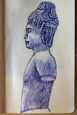 esquisse,dessin,sculpture,cambodge,paris,moleskine,carnet,musée guimet