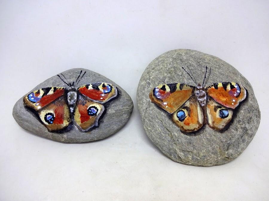 Como pintar mariposas sobre piedra paso a paso
