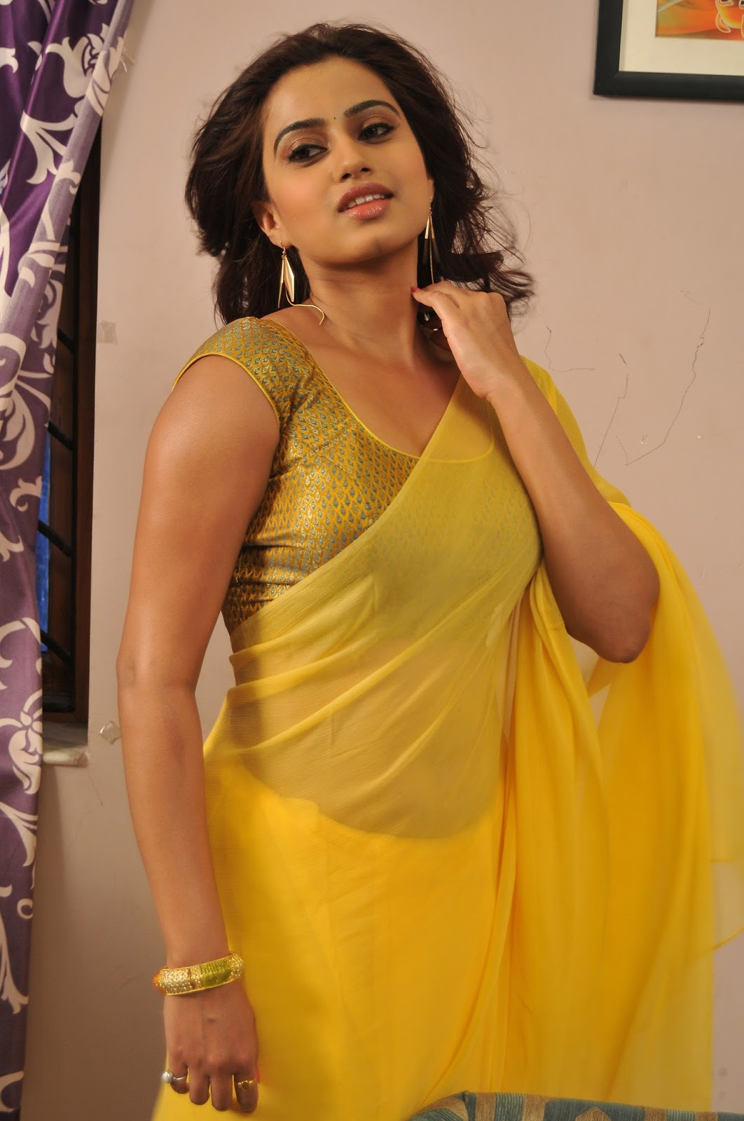 Masala Cine Zone: Dimple Hot in Yellow Transparent Saree ...