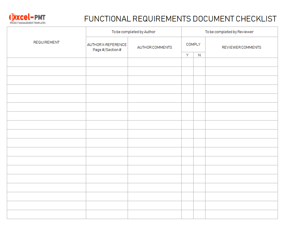 Functional Requirements Document Checklist Project Templates Project Management Small Business Guide