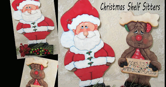 Christmas Shelf Sitters, Tole Painted Christmas, Pine Wood Decor