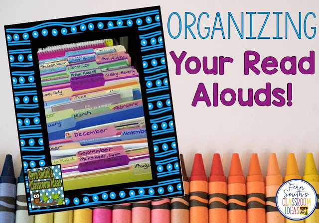 How to organize your classroom read alouds by month and authors.