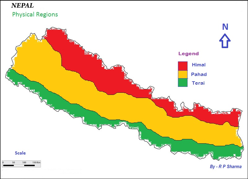 Physical Regions Nepal Map STUDENT AID