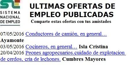 Ayamonte, Isla Cristina, Cumbres Mayores, Huelva. Lanzadera de Empleo Virtual. Sistema Nacional de Empleo