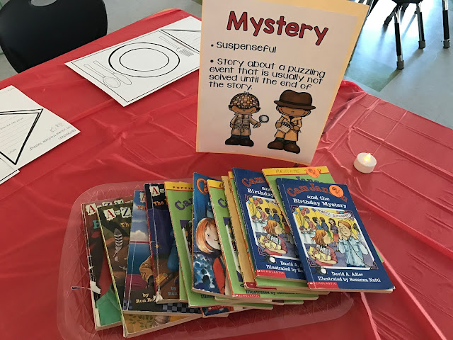 A blog post with a FREEBIE about doing a book tasting for with first graders. Encourage your first grade students to experience various reading genres by having a book tasting. Students sample books in various genres in a cafe themed setting. Link provided to free reading genre posters. {1st grade, ELA, balanced literacy}