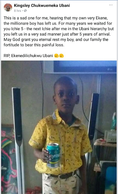 Photos: 5-year-old boy dies, his younger brother fighting for life after being set ablaze by their minor house help in Anambra State