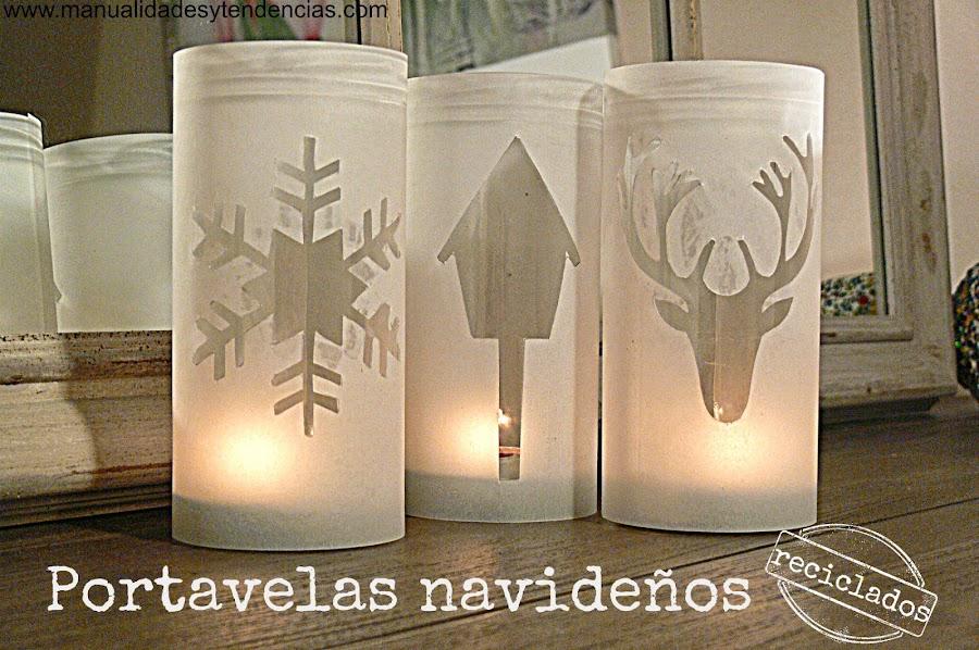 Reciclaje: portavelas navideños / Recycled Christmas candle holder